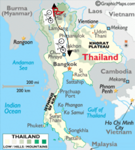 De route door Thailand voor de Cycle4education