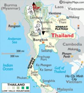 De route door Thailand voor de Cycle4education