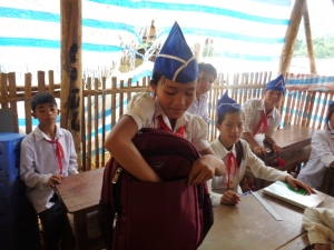 A girl going to school in Dien Bien